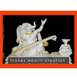 Marble Veena Ganesh Statue With Mouse