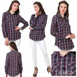 Full Sleeves Checks Ladies Formal Shirts, Casual