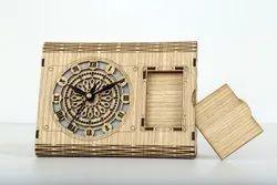 Analog Designer Wooden Table Clock, For Office, Shape: Rectangular