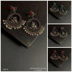 Brass Round German Silver Earring 18