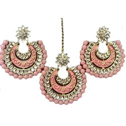 Brass Artificial Jhumka Earrings Maang Tikka Set