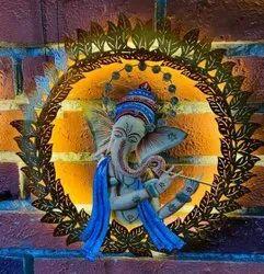 Multicolor Metal Round Pagdi Frame Ganesha