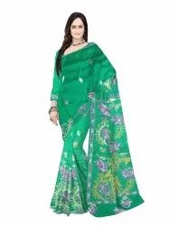 Bangalore Pure Silk Kantha Stitch Saree With Blouse