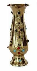 Nirmala Handicrafts Brass Glass Flower Vase Stone Work Decorative Showpiece
