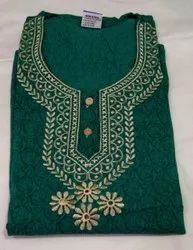 Embroidery Cotton Embroidered Nighty, Size: Extra Large