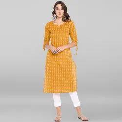 Janasya Women''s Yellow Pure Cotton Kurta(JNE3568)