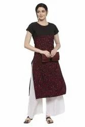 Women Printed crepe straight Kurta (Rose)