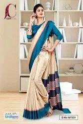 Beige Peacock Blue Gala Border Premium Polycotton CotFeel Saree For Hospital Uniform Sarees