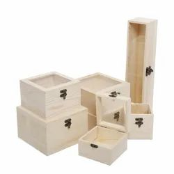Natural Wooden Unfinished Box, For Storage