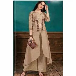 Party Wear 3/4th Sleeve Ladies Jacket Style Cotton Palazzo Suit, Wash Care: Machine wash