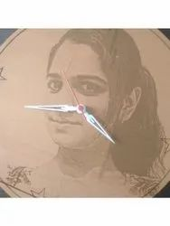 Wooden Brown Photo Printed Watch, For Gift, Size: 11*11