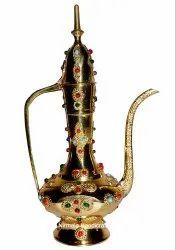 Nirmala Handicrafts Brass Aftab Stone Work Home & Table Decor Surahi