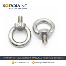 Round Full Thread Stainless Steel Lifting Eye Bolt / DIN-580, Size: M-6 To M-65, 25