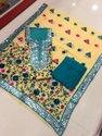 Cotton Unstitched Punjabi Phulkari Suits, Handwash
