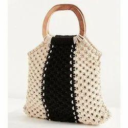 Black and natural Macrame bag