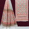 Bagru Ajrakh Hand Block Printed Cotton Dress Material.