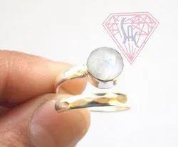 Semi Precious Rainbow Moonstone Ring