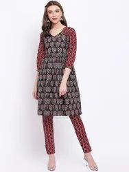 La Firangi Women Black & Orange Printed Kurti with Trousers