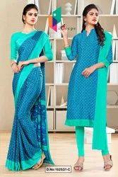 Blue Sea Green Small Print Premium Italian Silk Crepe Saree For Jewellery Showroom Uniform Sarees
