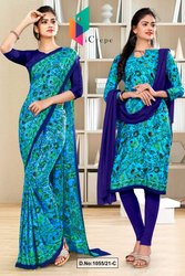 Sky Blue Navy Blue Flower Print Premium Italian Silk Crepe Uniform Sarees For Industrial Employees