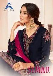 Alisha Simar Satin Georgette With Heavy Work Salwar Suit Catalog