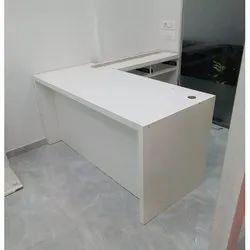 White L Shape Wooden Table