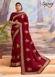 Maroon Color Designer Silk Saree