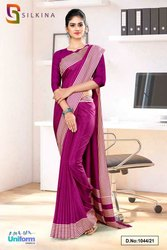 Wine Plain Border Premium Polycotton Raw Silk Saree For College Uniform Sarees