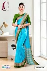Sky Blue Bottle Green Plain Border Premium Polycotton CotFeel Saree For Receptionist