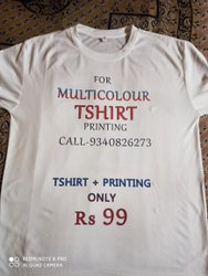 Cotton & Polyester White Promotional Multicolor T Shirt And Printing