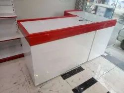 Red,White Wooden Cash Counter For Super Market