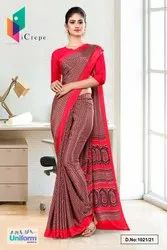 Brown Red Small Print Premium Italian Silk Crepe Saree For Office Uniform Sarees