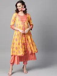 La Firangi Women Yellow & Peach-Coloured Printed Layered A-Line Kurta