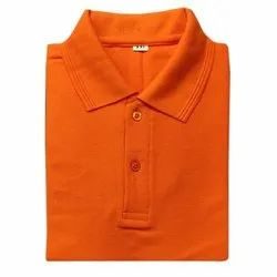 Orange Mens Cotton Plain T Shirt