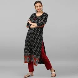 Janasya Women's Black Pure Cotton Kurta (JNE3068)