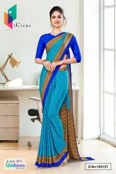 Sea Green Blue Paisley Print Premium Italian Silk Crepe Uniform Sarees For Corporate Employees