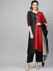 La Firangi Women Black Solid Silk Kurta With Palazzos & Dupatta
