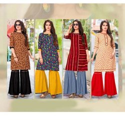 Cotton Ladies Printed Sharara Suit