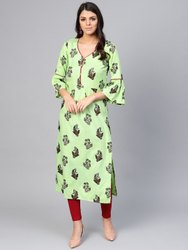 La Firangi Women Green & Maroon Printed Straight Kurta