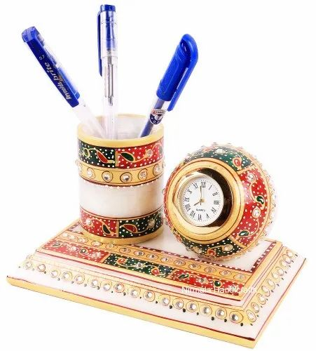 Marble Pen Stand With Watch Home/office Decorative Showpiece