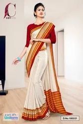 Cream Marron Plain Gala Border Polycotton Cotfeel Saree For Student Uniform Sarees 1083