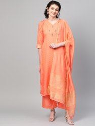 La Firangi Women Peach- Coloured & Golden Woven Design Kurta With Palazzos & Dupatta