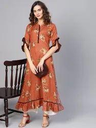 La Firangi Women RustOrange & Beige Printed A-Line Kurta