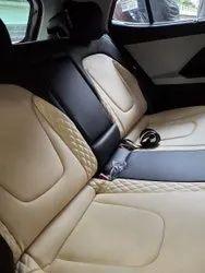Beige And Black Front & Back Designer Leather Seat Cover
