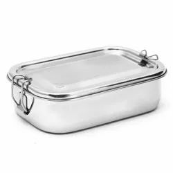 Silver Rectangle Stainless Steel Lunch Box