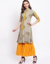 La Firangi Women Grey & Yellow Printed Kurti With Sharara