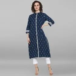 Janasya Women's Blue Pure Cotton Kurta (JNE3525)