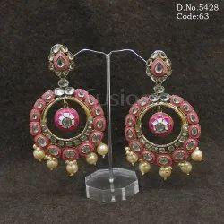 Meenakari Handmade Brass Metal Chandbali Earrings