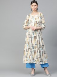 La Firangi Women Off-White & Blue Printed A-Line Kurta