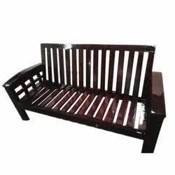 Rectangular Brown Teak Wood Sofa